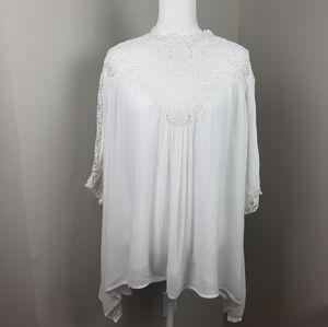 Sundance Crochet Asymmetrical Blouse Size XL